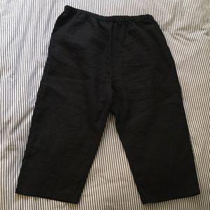 Garnet Hill Loose Cropped Linen Capri Pants 12 XL